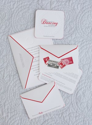 Classic Elegant Red White Gray Letterpress Wedding Invitations7 300x409 Kathryn + Ryans Timeless Winter Wedding Invitations