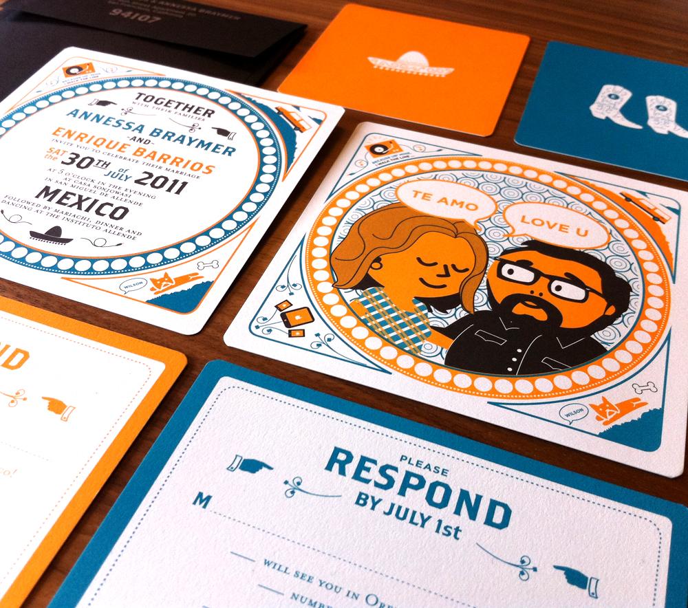 enrique annessas creative mexico destination wedding invitations destination wedding invitations Orange Blue Modern Mexico Wedding Invitations Suite