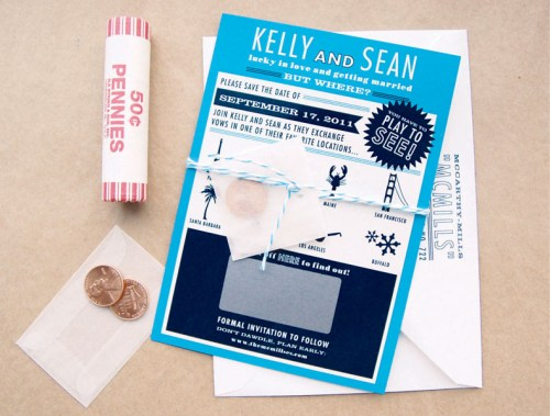 Scratch Off Surprise Wedding Save the Dates3 500x379 Kelly + Seans Scratch Off Surprise Wedding Save the Dates
