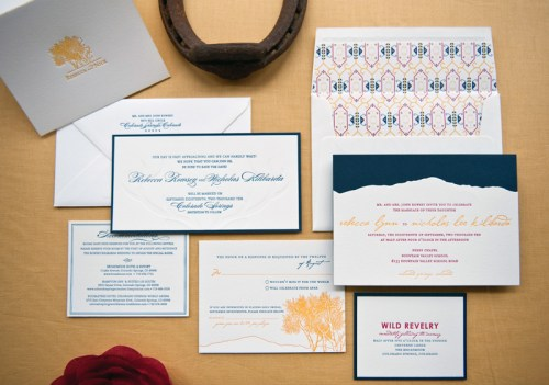 Colorado Rocky Mountains Blue Yellow Wedding Invitations Suite 500x351 Rebecca + Nicks Rocky Mountain Colorado Wedding Invitations