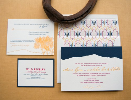 Colorado Rocky Mountains Blue Yellow Wedding Invitations Suite2 500x382 Rebecca + Nicks Rocky Mountain Colorado Wedding Invitations