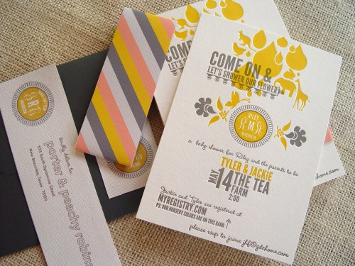 Gray Gold Letterpress Baby Shower Invitations 42Pressed 500x375 Jackie + Tylers Gray and Gold Baby Shower Invitations