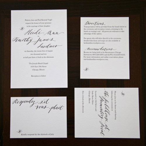 Letterpress Calligraphy Wedding Invitations Neither Snow 500x500 Black + White Calligraphy Wedding Invitations by Neither Snow