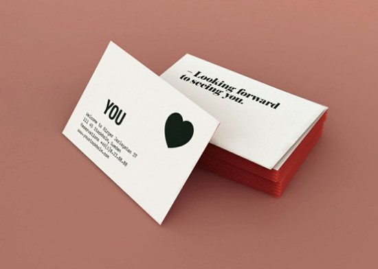 Black White Heart Business Cards 550x392 Business Card Ideas and Inspiration #9