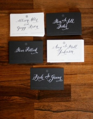 Black and White Calligraphed Escort Cards 300x382 Wedding Details: Escort Cards and Place Cards, Part 2