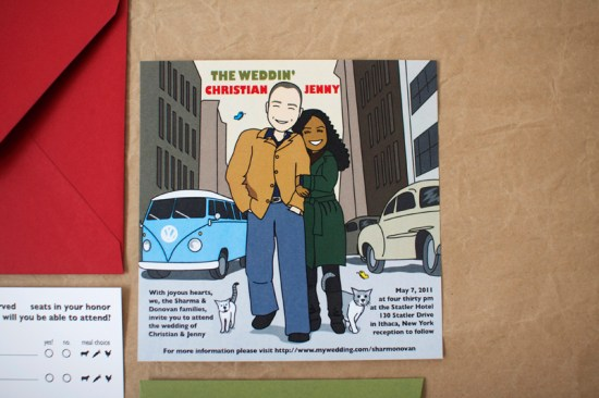 Bob Dylan Inspired Wedding Invitation2 550x366 Colorful Illustrated Custom Invitations from Stinkerpants