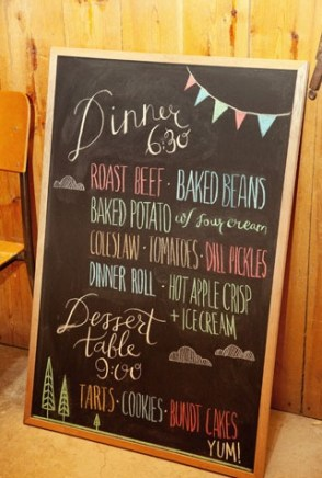 Chalkboard wedding menu 300x449 Wedding Details: Creative Menu Ideas