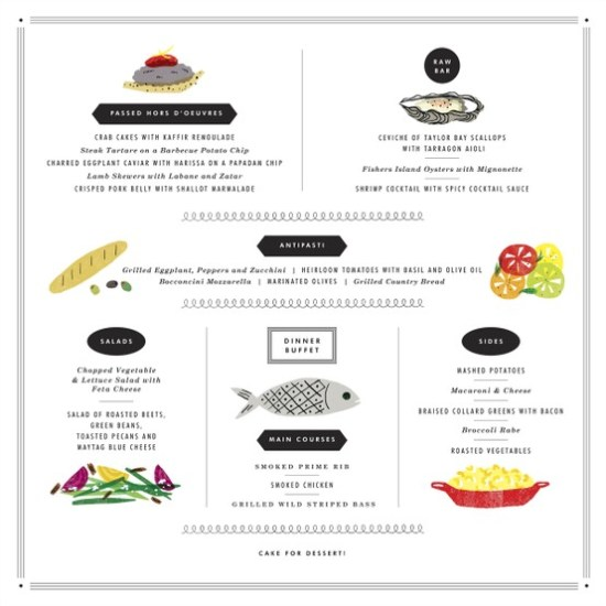 Illustrated Wedding Menu Idea 550x550 Wedding Details: Creative Menu Ideas