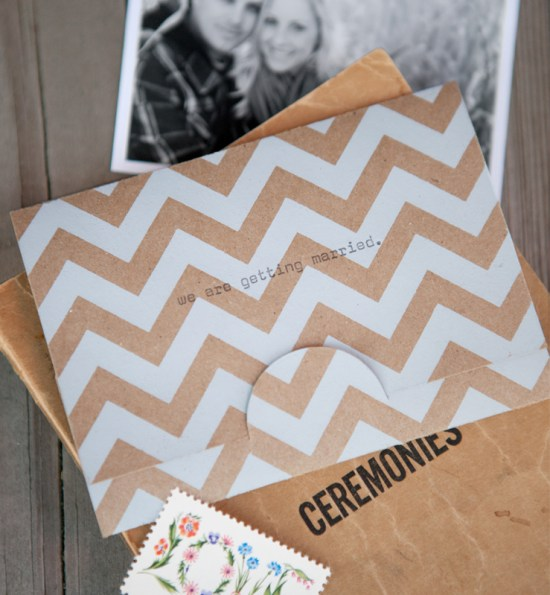Kraft Paper Chevron Stripe Save the Dates3 550x595 Lauras Modern Chevron Stripe + Kraft Save the Dates