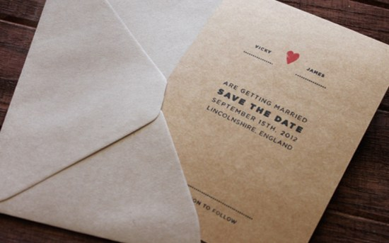 Kraft Paper Gocco Save the Date 550x343 Sweet + Simple Save the Dates
