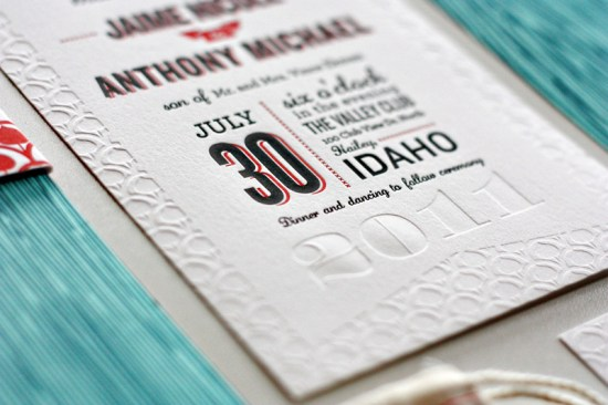 Modern Aspen Forest Letterpress Wedding Invitations Detail 550x366 Jaime + Anthonys Modern Woodgrain Wedding Invitations