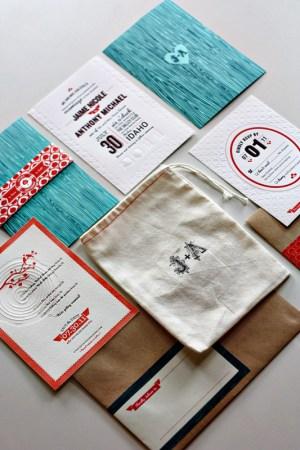 Modern Aspen Forest Letterpress Wedding Invitations 300x450 Jaime + Anthonys Modern Woodgrain Wedding Invitations