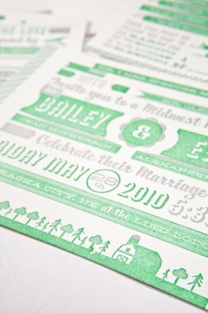 Modern Green Gray Letterpress Wedding Invitation4 300x450 Modern Green + Gray Letterpress Wedding Invitations