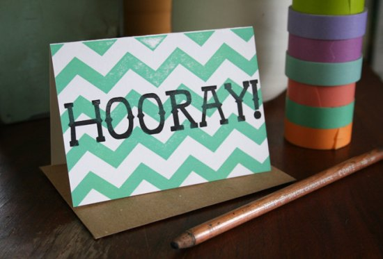 Tabletop Made Chevron Hooray Card 550x373 Bright & Colorful Cards from Tabletop Made