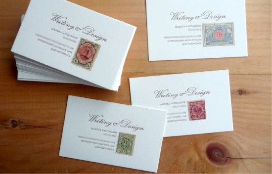 Vintage Stamp Letterpress Business Cards 550x352 Business Card Ideas and Inspiration #9