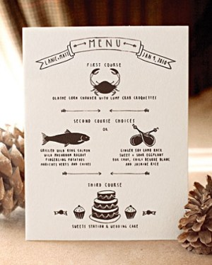 hand drawn wedding menu idea 300x374 Wedding Details: Creative Menu Ideas