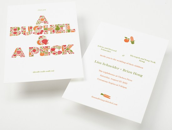 Enormous Champion Modern Foodie Letterpress Wedding Invitations Front Back 550x414 Lisa + Brians Modern Foodie Wedding Invitations