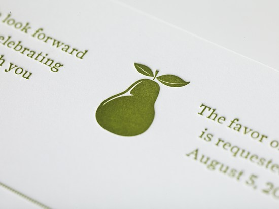 Enormous Champion Modern Foodie Letterpress Wedding Invitations Pear 550x412 Lisa + Brians Modern Foodie Wedding Invitations