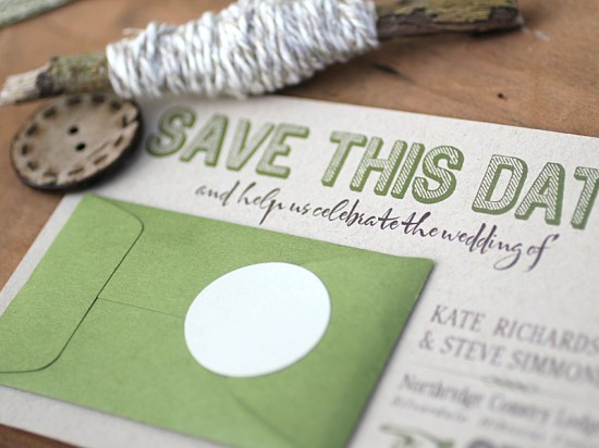 Modern Green Kraft Typography Wedding Invitations Detail 550x412 Kate + Steves Organic Modern Wedding Invitations