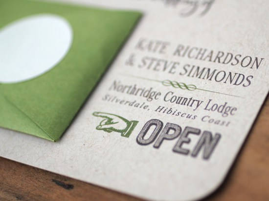 Modern Green Kraft Typography Wedding Invitations Detail2 550x412 Kate + Steves Organic Modern Wedding Invitations