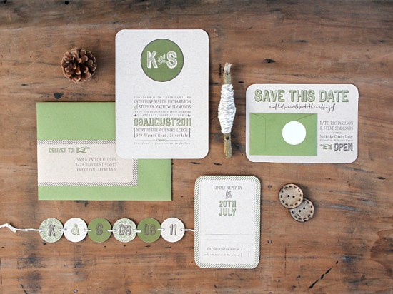 Modern Green Kraft Typography Wedding Invitations Suite 550x412 Kate + Steves Organic Modern Wedding Invitations