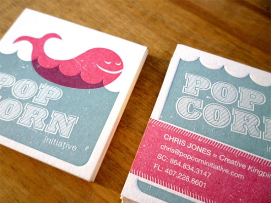 Pink Blue Overprinting Letterpress Business Card 550x412 Business Card Ideas and Inspiration #10