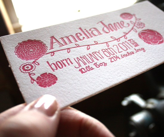 Pink Letterpress Photo Collage Baby Girl Birth Announcement3 550x461 Sweet Pink Birth Announcements for Baby Amelia