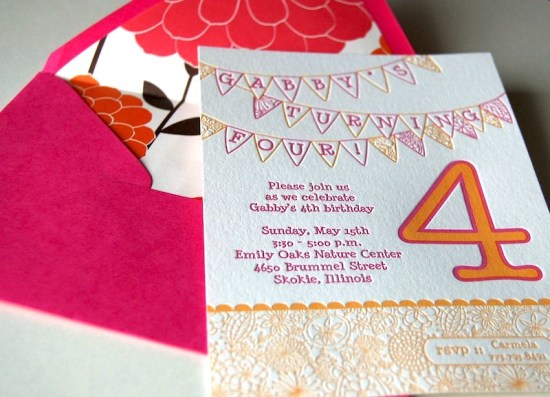 Pink Orange Letterpress Fourth Birthday Party Invitation Envelope Liner 550x397 Gabbys Whimsical Pink + Orange 4th Birthday Party Invitations