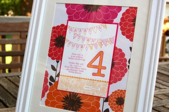 Pink Orange Letterpress Fourth Birthday Party Invitation Floral 550x365 Gabbys Whimsical Pink + Orange 4th Birthday Party Invitations