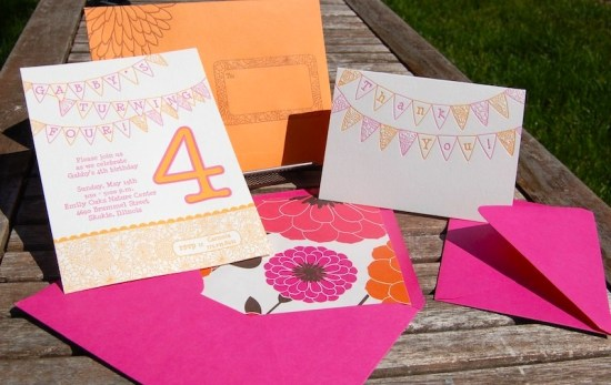 Pink Orange Letterpress Fourth Birthday Party Invitation Suite 550x347 Gabbys Whimsical Pink + Orange 4th Birthday Party Invitations