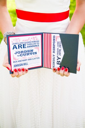 Red White Blue Wedding Invitations 300x450 Red, White + Blue Wedding Stationery Inspiration
