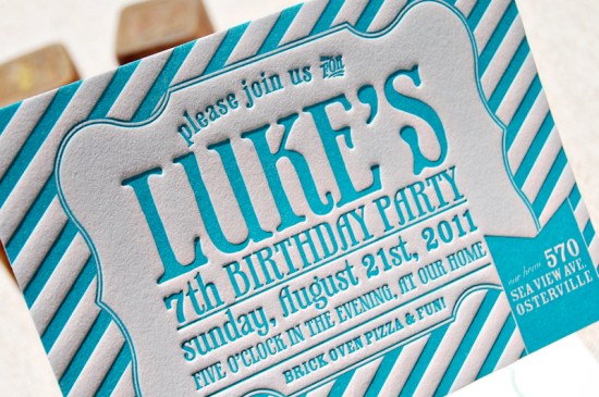 Blue Letterpress Striped Birthday Party Invitations 9 550x365 Lukes Striped Letterpress Birthday Party Invitations