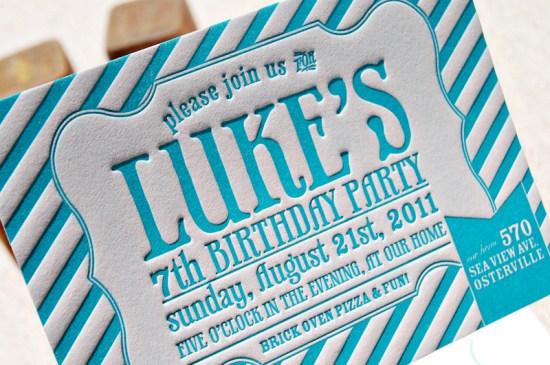 Blue Letterpress Striped Birthday Party Invitations 9 550x365 Lukes Striped Letterpress Birthday Party Invitations