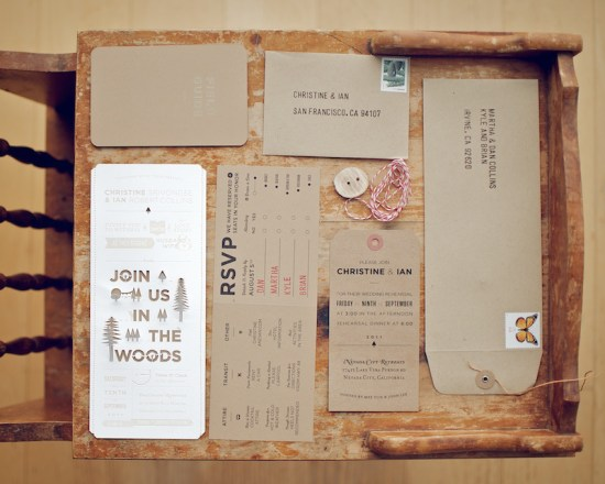 DIY Woodland Cutout Wedding Invitation Suite1 550x440 Christine + Ians Woodland Wedding Invitations
