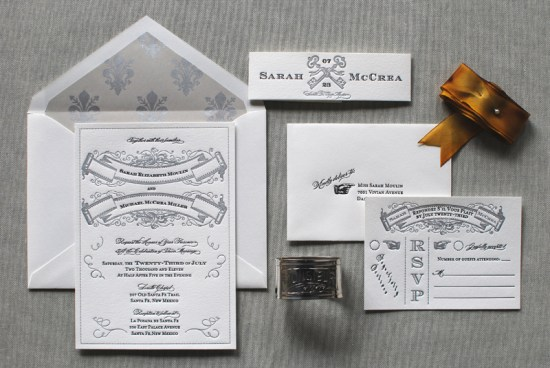 Art Deco Great Gatsby Wedding Invitations Aerialist Press 550x368 Sarah + Michaels Vintage Inspired Wedding Invitations
