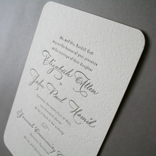 Classic Gray White Calligraphy Letterpress Wedding Invitations Arboreal 550x547 Elizabeth + Johns Classic Calligraphy Wedding Invitations