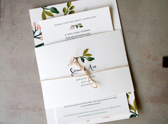 Floral Australia Wedding Invitation Rifle Paper Co3 550x407 Jenna + Asas Floral Wedding Invitations from Rifle Paper Co.