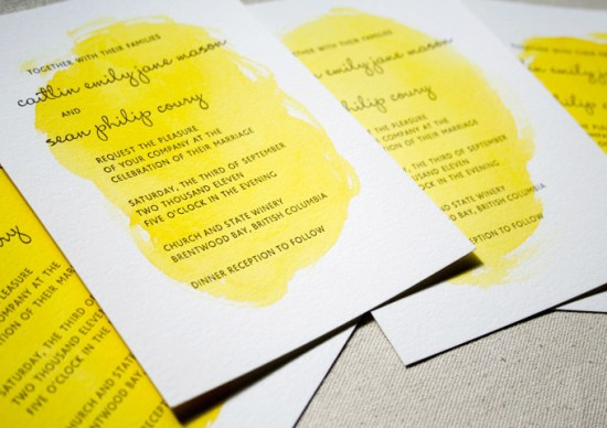Painterly Yellow Letterpress Wedding Invitations Constellation Co2 550x388 Caitlin + Seans Watercolor Wedding Invitations