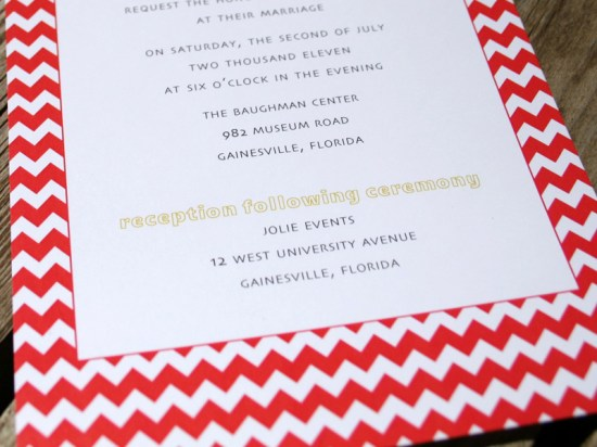 Red Chevron Stripe and Linen Wedding Invitations6 550x412 Camille + Andrews Red Chevron and Linen Wedding Invitations