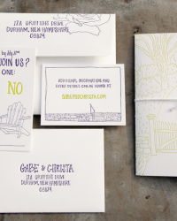 Custom Illustrated Letterpress Wedding Invitations by Gus & Ruby Letterpress