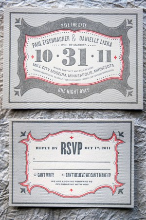 Wit Delight Gray Red Halloween Letterpress Wedding Invitations RSVP 300x452 Danielle + Pauls Vintage Inspired Marquee Halloween Wedding Invitations