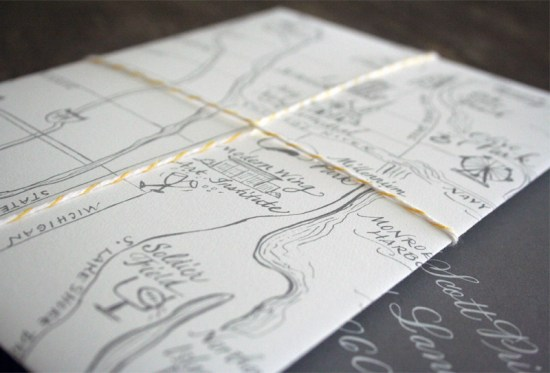 Yellow Gray Elegant Letterpress Wedding Invitations Map 550x373 Katie + Alexs Elegant Chicago Map Wedding Invitations