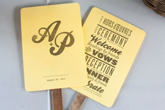 Yellow Gray Wedding Program Fans3 550x366 Amy + Patricks Wedding Ceremony Program Fans