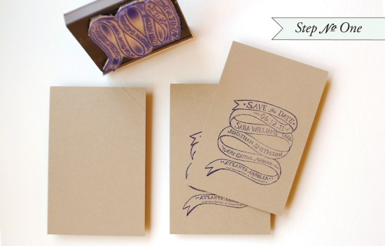 edge paint11 550x352 DIY Tutorial: Rubber Stamp Edge Painted Save the Date Tags