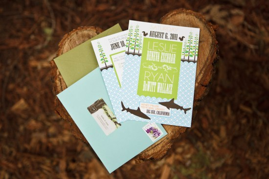 Big Sur Modern Woodland Wedding Invitations 550x366 Leslie + Ryans Modern Woodland Big Sur Wedding Invitations