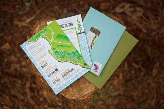 Big Sur Modern Woodland Wedding Invitations6 550x366 Leslie + Ryans Modern Woodland Big Sur Wedding Invitations