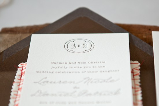 Country Elegance Fabric Pocket Wedding Invitations7 550x366 Lauren + Daniels Country Elegance Fabric Pocket Wedding Invitations