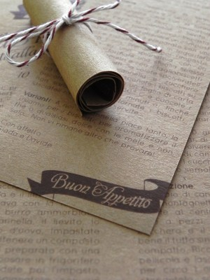 Kraft Paper Lace Wedding Invitations Recipe Favors 300x400 Giada + Davides Kraft Paper and Lace Wedding Invitations