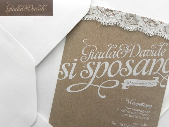 Kraft Paper Lace Wedding Invitations3 550x412 Giada + Davides Kraft Paper and Lace Wedding Invitations