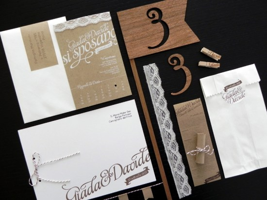 Kraft Paper Lace Wedding Invitations6 550x412 Giada + Davides Kraft Paper and Lace Wedding Invitations